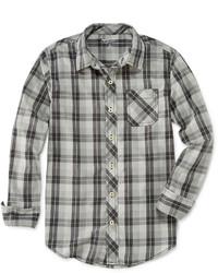 Camicia a maniche lunghe scozzese grigia