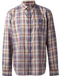 Camicia a maniche lunghe scozzese multicolore