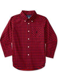 Camicia a maniche lunghe scozzese rossa e blu scuro