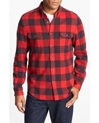 Camicia a maniche lunghe scozzese rossa e nera