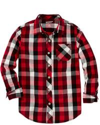Camicia a maniche lunghe scozzese rossa