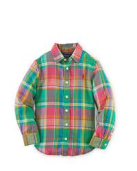 Camicia a maniche lunghe scozzese verde