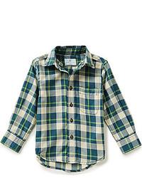 Camicia a maniche lunghe scozzese verde scuro