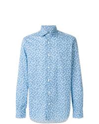 Camicia a maniche lunghe stampata azzurra di Barba
