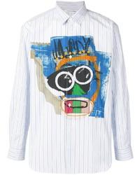Camicia a maniche lunghe stampata azzurra di Comme Des Garcons SHIRT