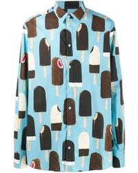 Camicia a maniche lunghe stampata azzurra di Dolce & Gabbana