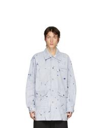 Camicia a maniche lunghe stampata azzurra di Feng Chen Wang