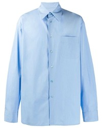 Camicia a maniche lunghe stampata azzurra di Marni