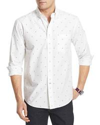 Camicia a maniche lunghe stampata bianca e blu