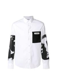 Camicia a maniche lunghe stampata bianca e nera di Dirk Bikkembergs