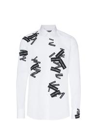 Camicia a maniche lunghe stampata bianca e nera di Dolce & Gabbana