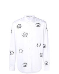 Camicia a maniche lunghe stampata bianca e nera di McQ Alexander McQueen