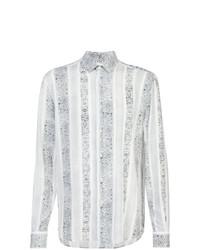 Camicia a maniche lunghe stampata bianca e nera di Saint Laurent