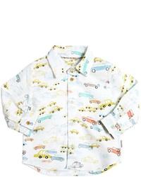 Camicia a maniche lunghe stampata bianca