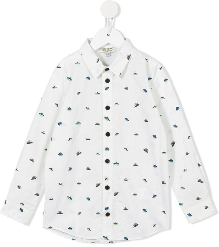 Camicia a maniche lunghe stampata bianca di Kenzo