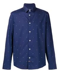 Camicia a maniche lunghe stampata blu scuro e bianca