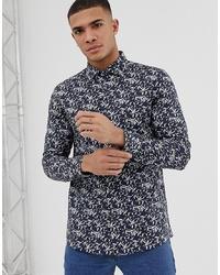 Camicia a maniche lunghe stampata blu scuro di Burton Menswear
