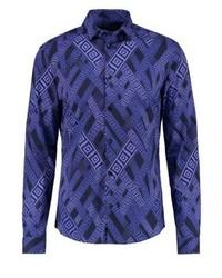 Camicia a maniche lunghe stampata blu di Versace
