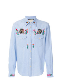 ... Camicia di jeans a fiori azzurra di Gucci b6888091af2