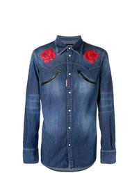 Camicia di jeans a fiori blu