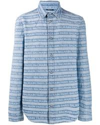 Camicia di jeans a righe orizzontali azzurra di Balmain