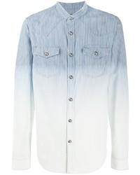 Camicia di jeans a righe verticali azzurra di Balmain