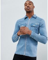 Camicia di jeans azzurra di Liquor N Poker