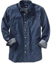 Camicia di jeans blu scuro