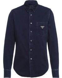 Camicia di jeans blu scuro di Prada