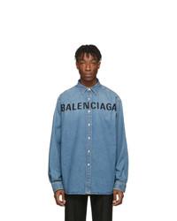 Camicia di jeans blu di Balenciaga