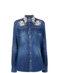 Camicia di jeans blu di DSQUARED2