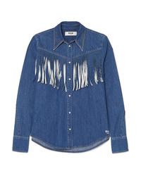 Camicia di jeans con frange blu di MSGM
