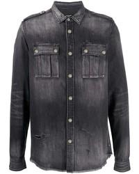 Camicia di jeans grigio scuro di Balmain