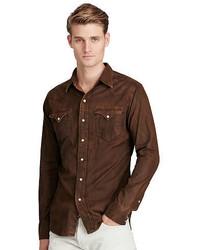 Camicia di jeans marrone