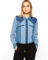 Camicia di jeans patchwork blu