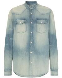 Camicia di jeans ricamata azzurra di Balmain