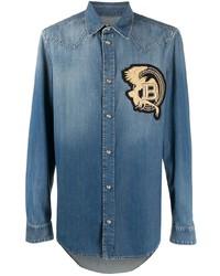 Camicia di jeans ricamata blu di Balmain