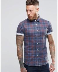 Camicia di jeans scozzese blu
