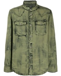 Camicia di jeans verde oliva di Balmain