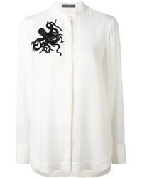 Camicia di seta decorata bianca di Alexander McQueen