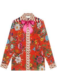 Camicia di seta stampata rossa di Gucci