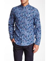 Camicia elegante a fiori blu