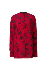 Camicia elegante a fiori bordeaux di Haider Ackermann