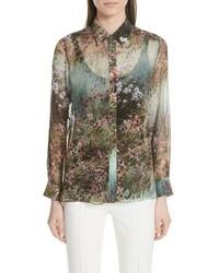 Camicia elegante a fiori verde