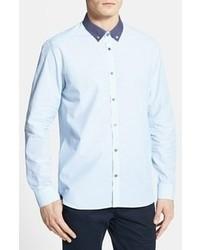 Camicia elegante a pois azzurra
