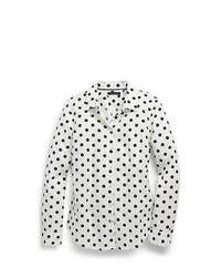 Camicia elegante a pois bianca e nera