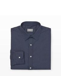 Camicia elegante a pois blu scuro e bianca