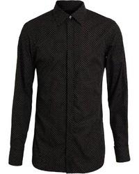 Camicia elegante a pois nera e bianca