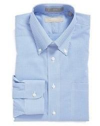 Camicia elegante a quadretti azzurra