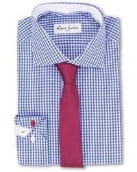 Camicia elegante a quadretti bianca e blu